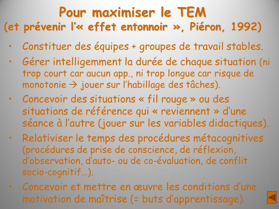 (et prévenir l'« effet entonnoir », Piéron, 1992)