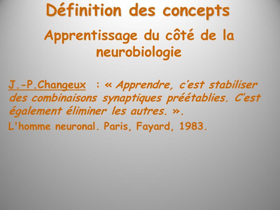 Définition des concepts Apprentissage du côté de la neurobiologie
