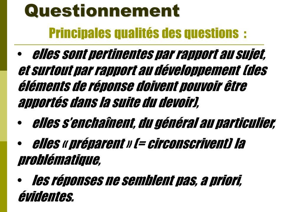 Questionnement Principales qualités des questions :