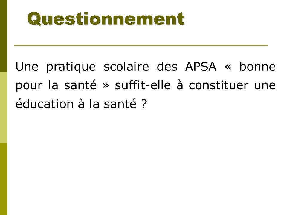 Questionnement Une pratique scolaire des APSA « bonne pour la santé » suffit-elle à constituer une éducation à la santé