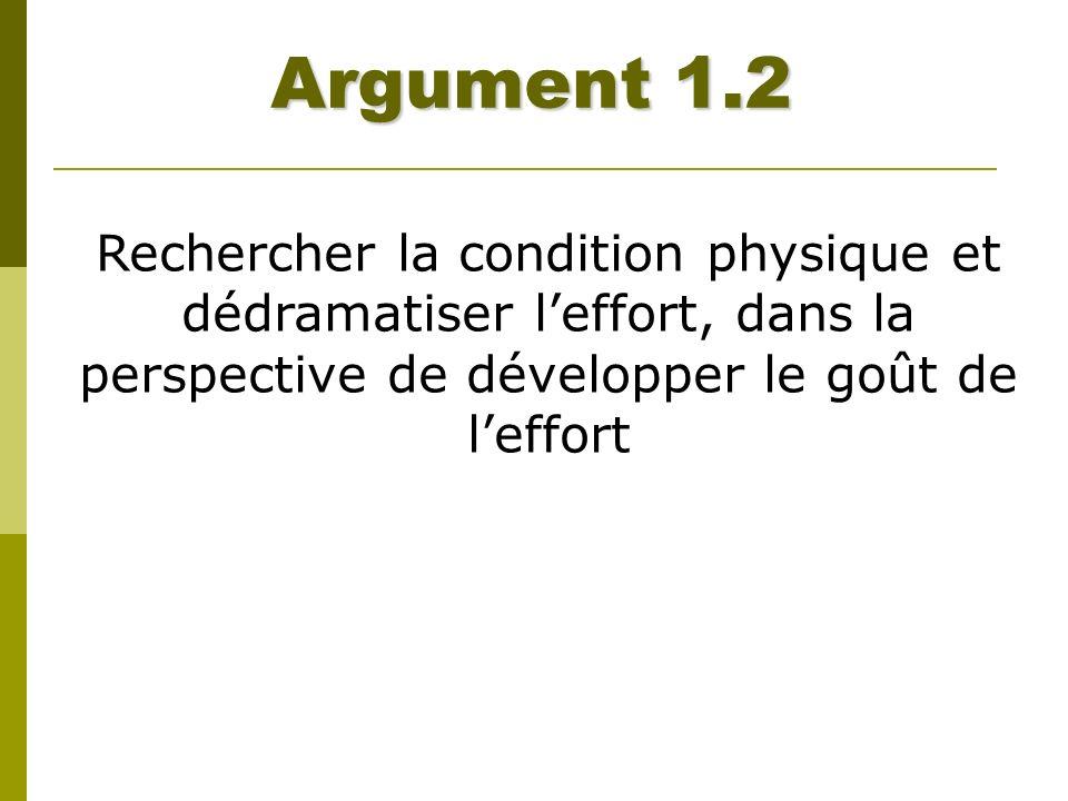 Argument 1.2 Rechercher la condition physique et dédramatiser l'effort, dans la perspective de développer le goût de l'effort.
