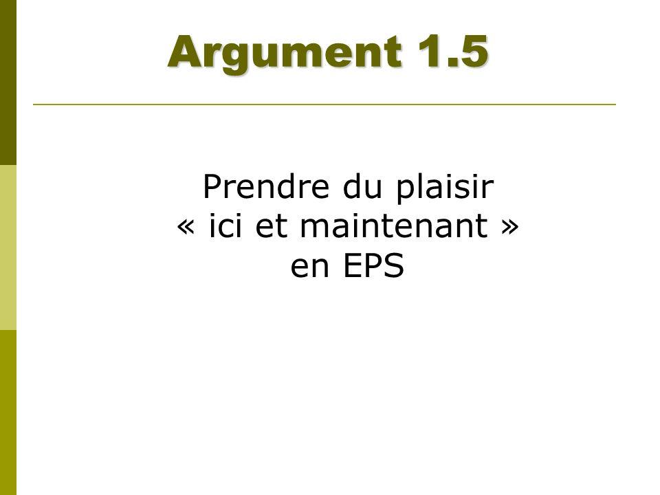 Argument 1.5 Prendre du plaisir « ici et maintenant » en EPS
