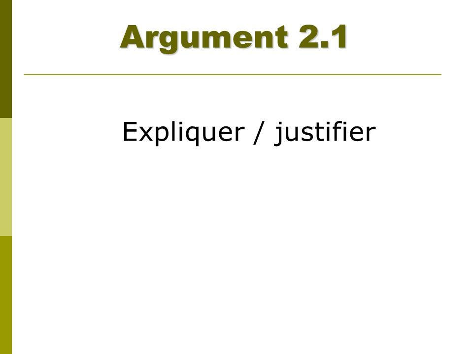 Argument 2.1 Expliquer / justifier