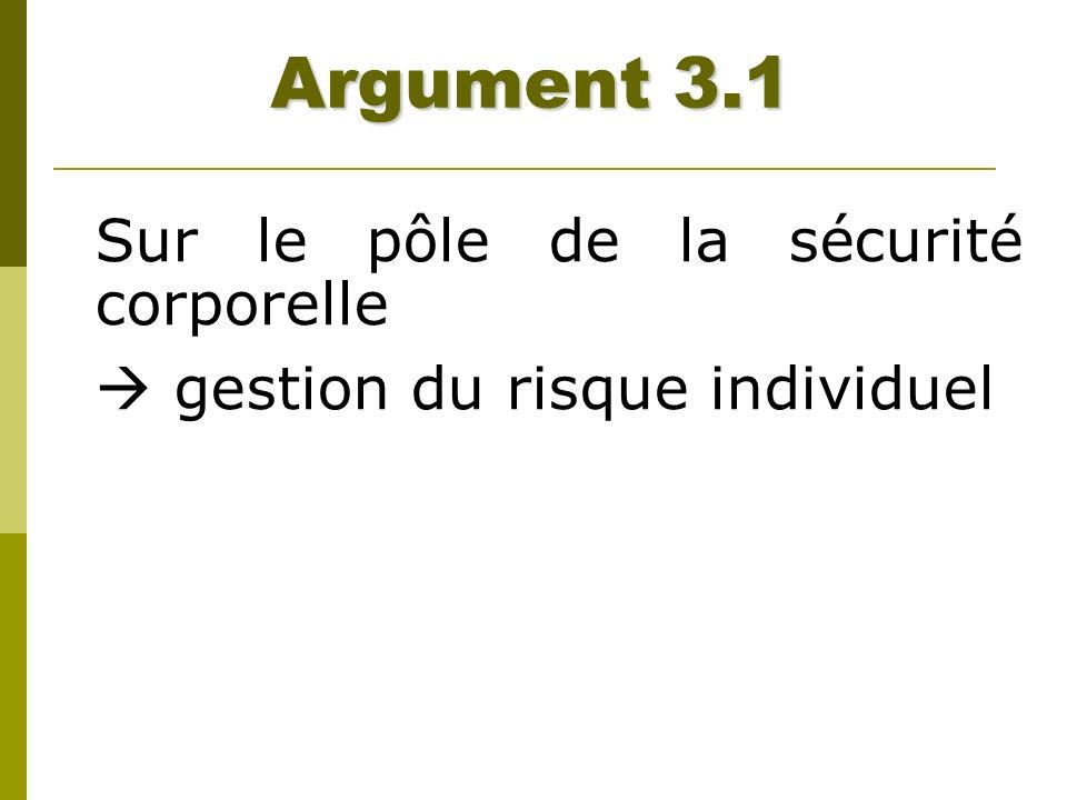 Argument 3.1 Sur le pôle de la sécurité corporelle