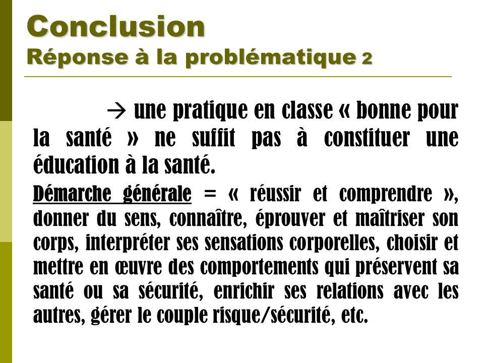 Conclusion Réponse à la problématique 2