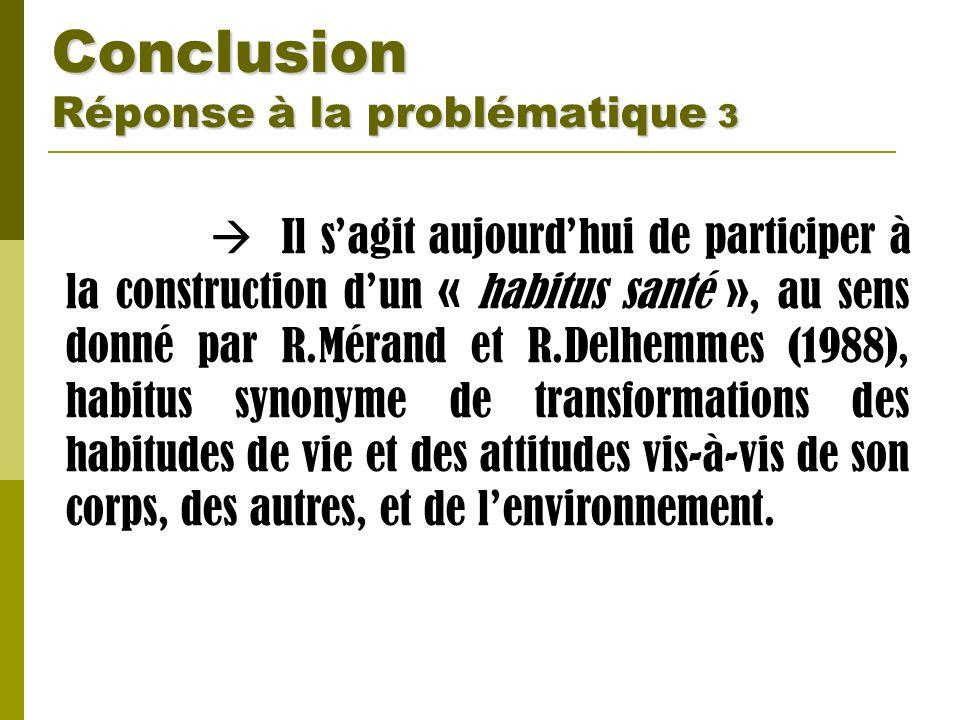 Conclusion Réponse à la problématique 3