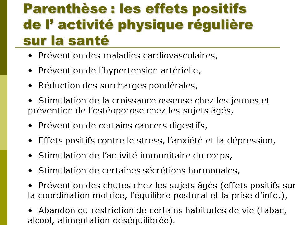 Parenthèse : les effets positifs de l' activité physique régulière sur la santé