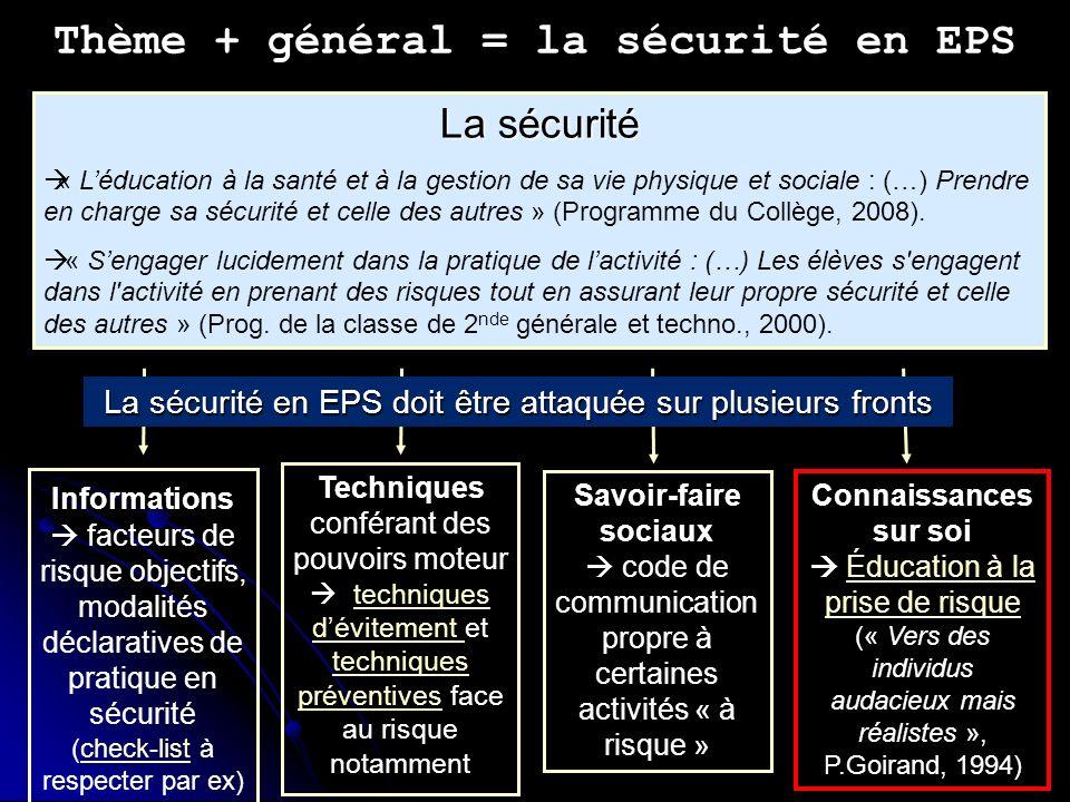 Thème + général = la sécurité en EPS