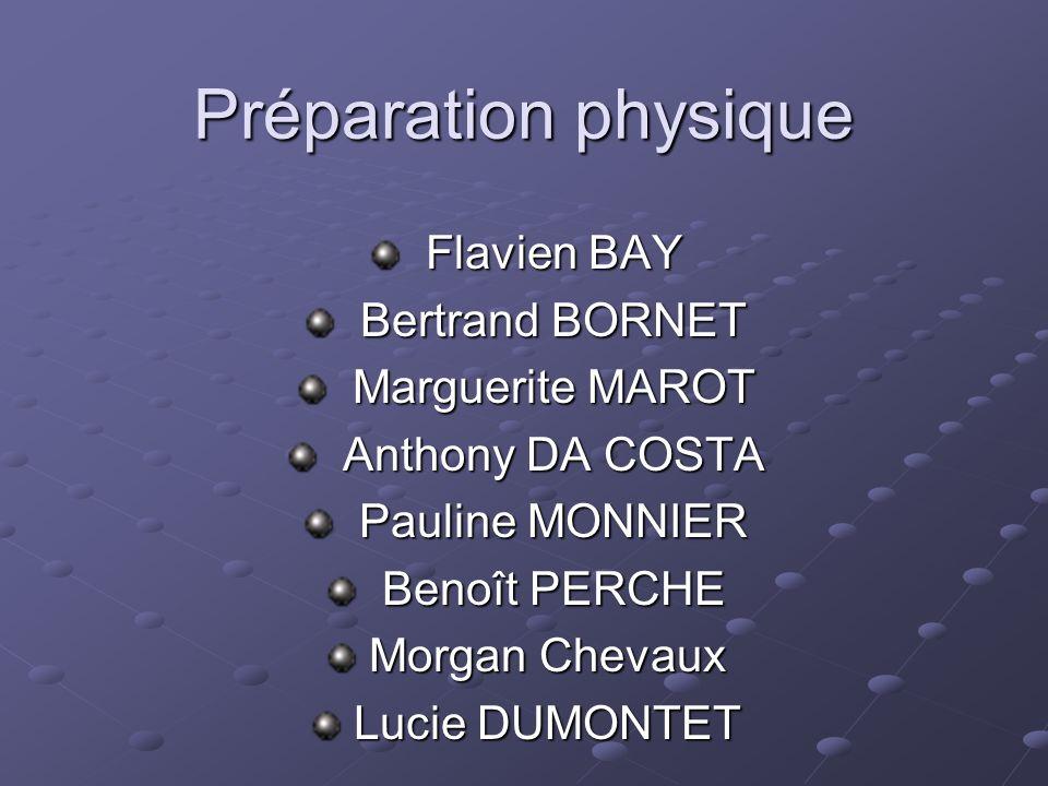 Préparation physique Flavien BAY Bertrand BORNET Marguerite MAROT