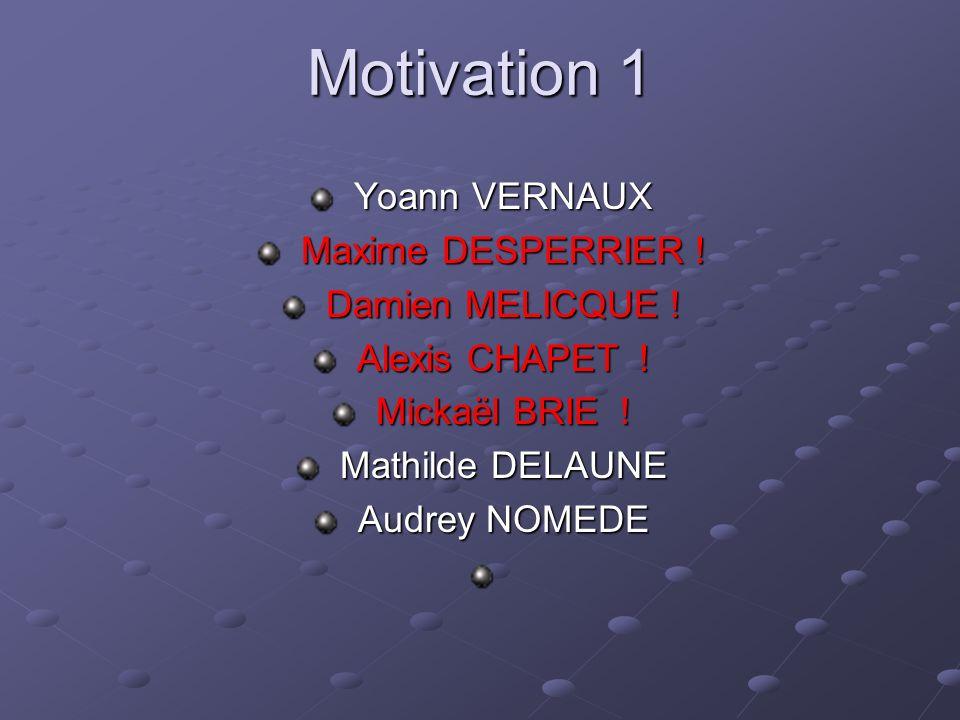 Motivation 1 Yoann VERNAUX Maxime DESPERRIER ! Damien MELICQUE !