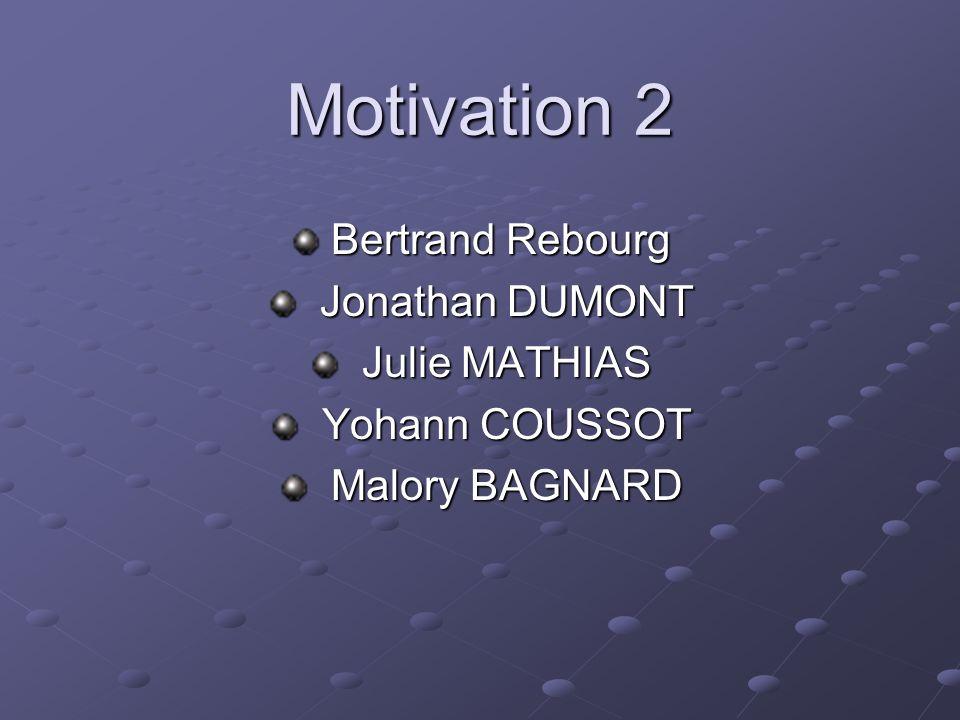 Motivation 2 Bertrand Rebourg Jonathan DUMONT Julie MATHIAS