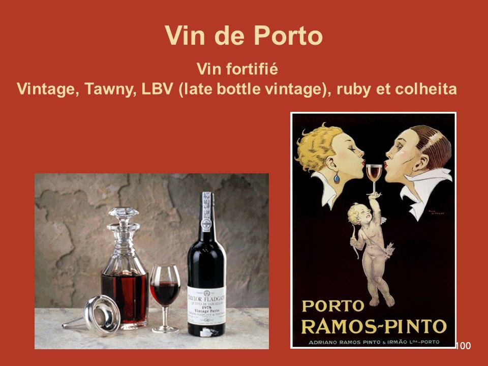 Vintage, Tawny, LBV (late bottle vintage), ruby et colheita
