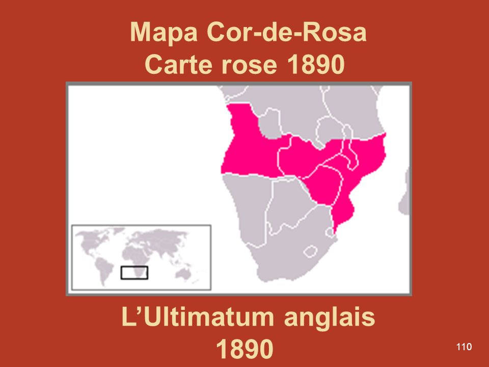 Mapa Cor-de-Rosa Carte rose 1890 L'Ultimatum anglais 1890