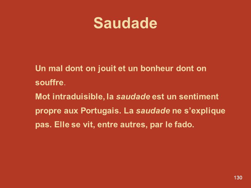 Saudade Un mal dont on jouit et un bonheur dont on souffre.