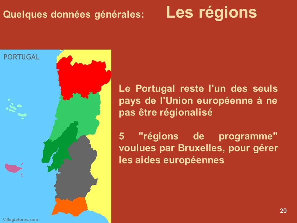 Quelques données générales: Les régions