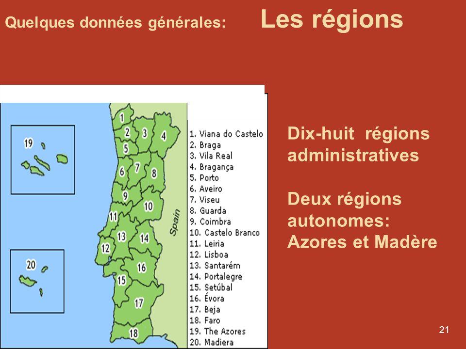 Dix-huit régions administratives