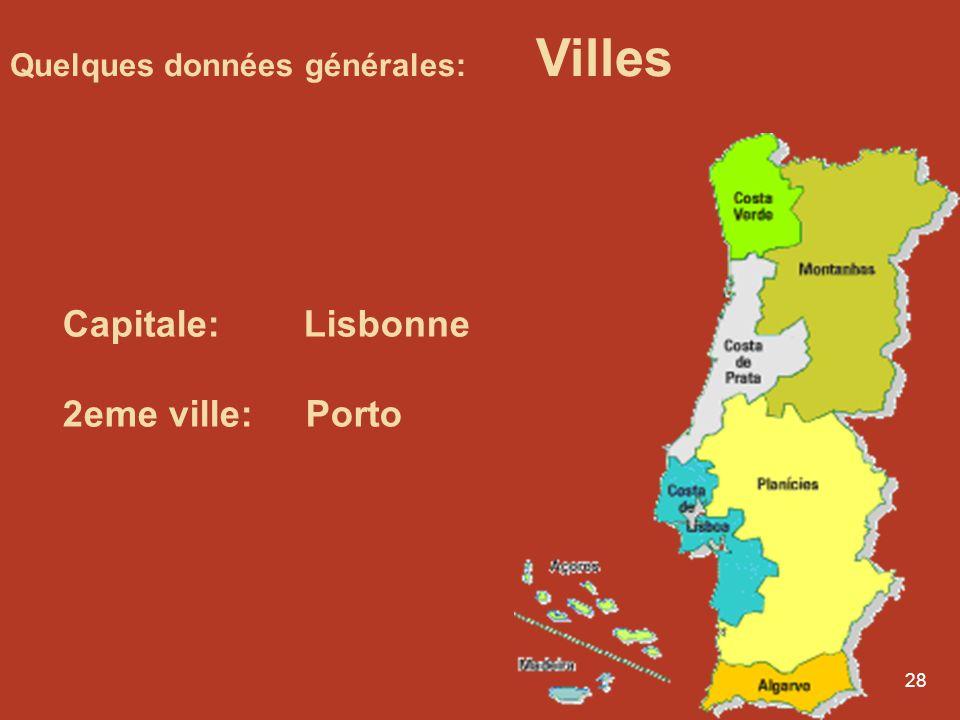 Capitale: Lisbonne 2eme ville: Porto