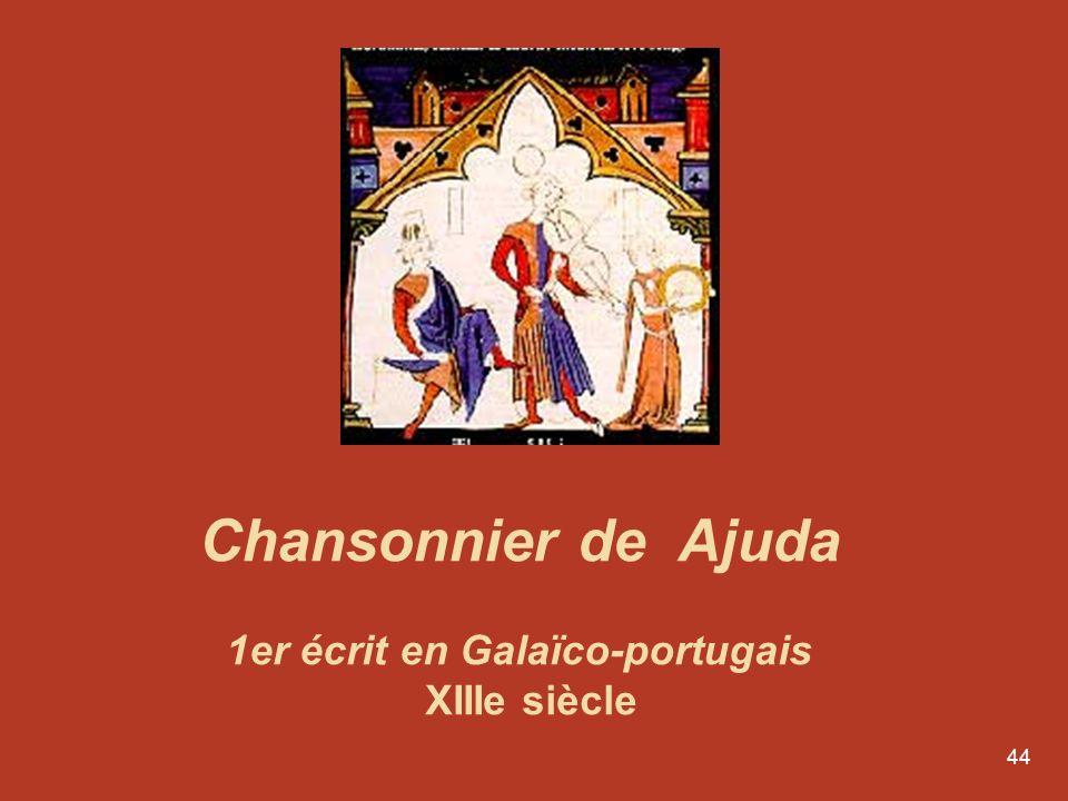 1er écrit en Galaïco-portugais XIIIe siècle