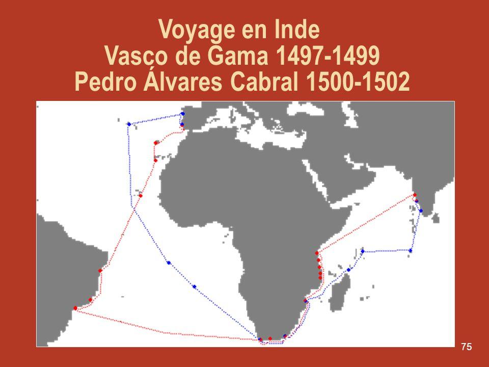 Voyage en Inde Vasco de Gama 1497-1499 Pedro Álvares Cabral 1500-1502
