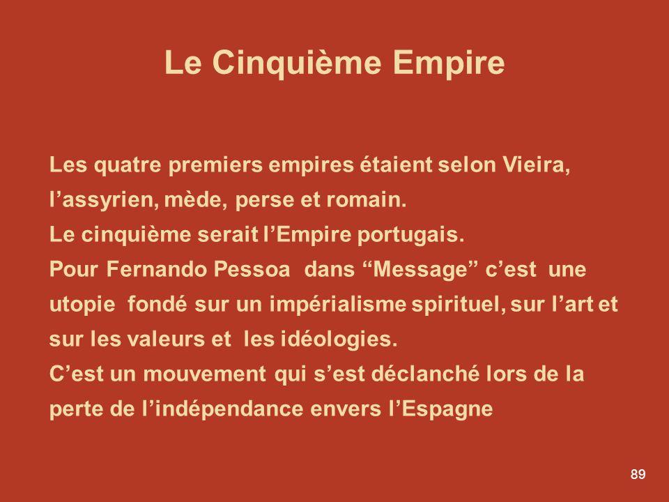 Le Cinquième Empire Les quatre premiers empires étaient selon Vieira, l'assyrien, mède, perse et romain.