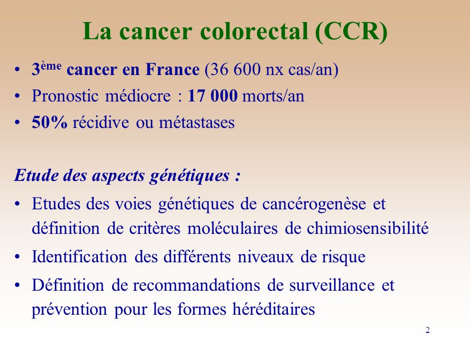 La cancer colorectal (CCR)