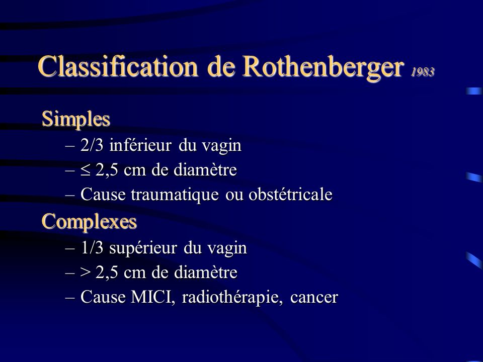 Classification de Rothenberger 1983