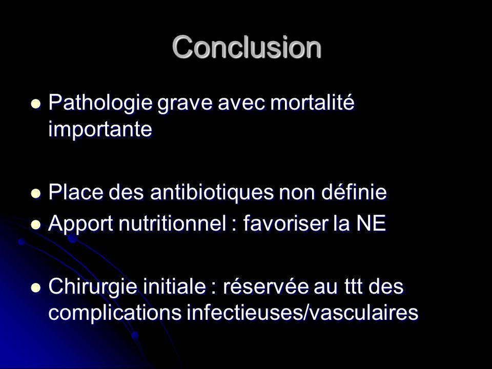 Conclusion Pathologie grave avec mortalité importante