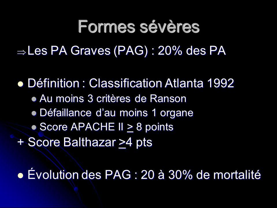 Formes sévères Les PA Graves (PAG) : 20% des PA