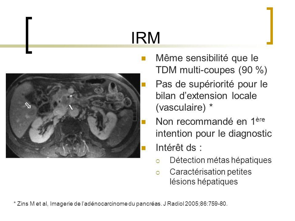 IRM Même sensibilité que le TDM multi-coupes (90 %)