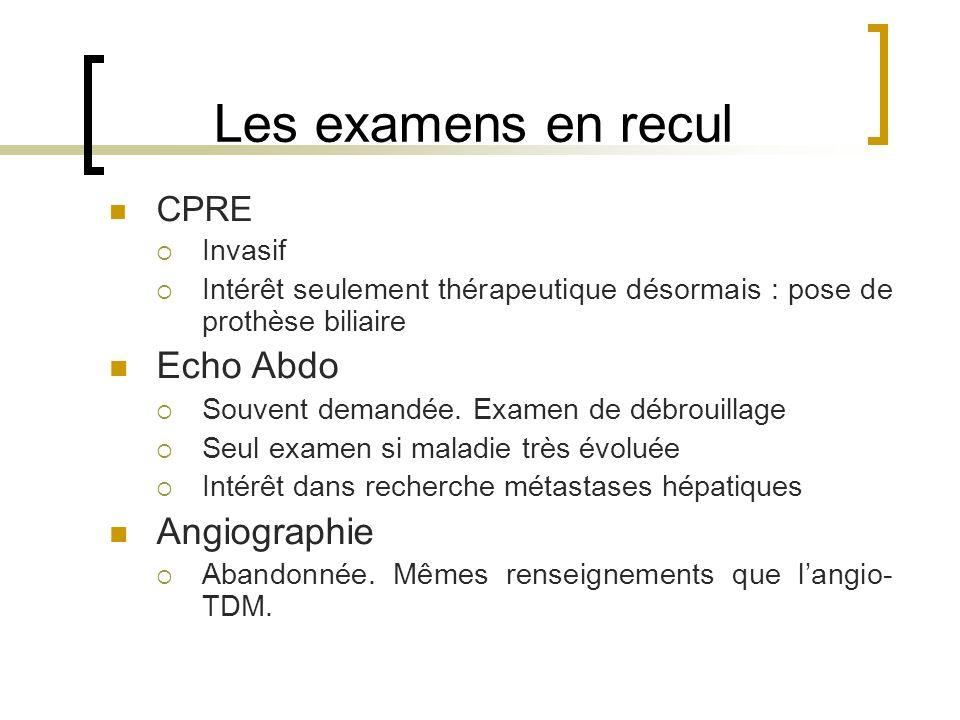 Les examens en recul Echo Abdo Angiographie CPRE Invasif