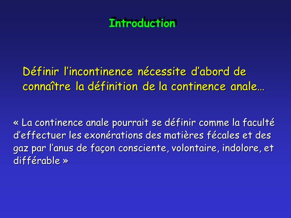 Introduction Définir l'incontinence nécessite d'abord de connaître la définition de la continence anale…