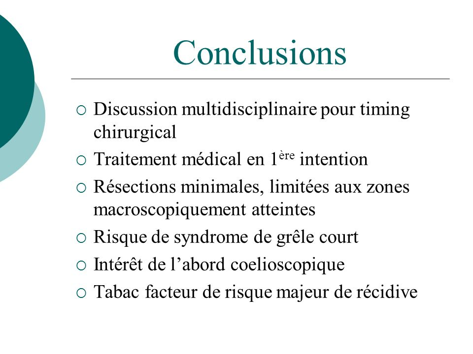 Conclusions Discussion multidisciplinaire pour timing chirurgical