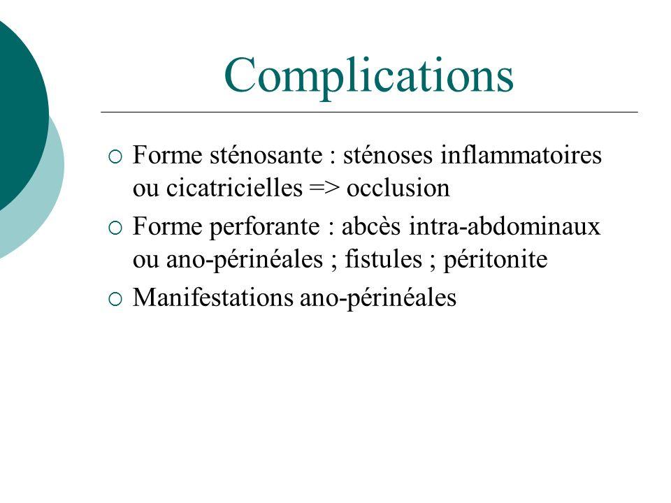 Complications Forme sténosante : sténoses inflammatoires ou cicatricielles => occlusion.