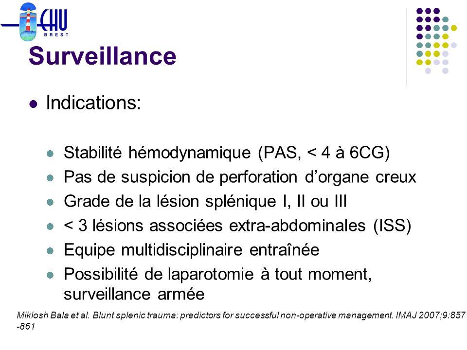 Surveillance Indications: Stabilité hémodynamique (PAS, < 4 à 6CG)