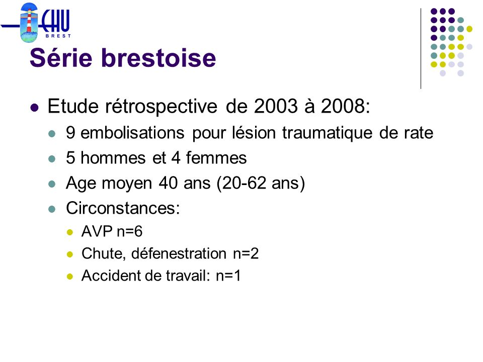 Série brestoise Etude rétrospective de 2003 à 2008: