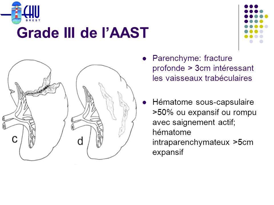 Grade III de l'AAST Parenchyme: fracture profonde > 3cm intéressant les vaisseaux trabéculaires.
