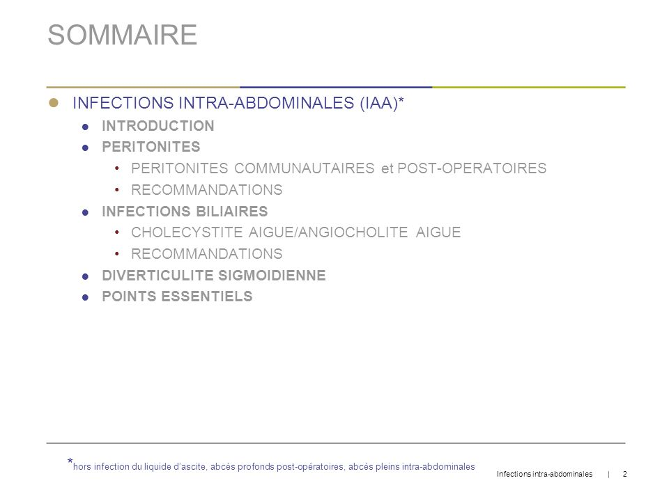 SOMMAIRE INFECTIONS INTRA-ABDOMINALES (IAA)*