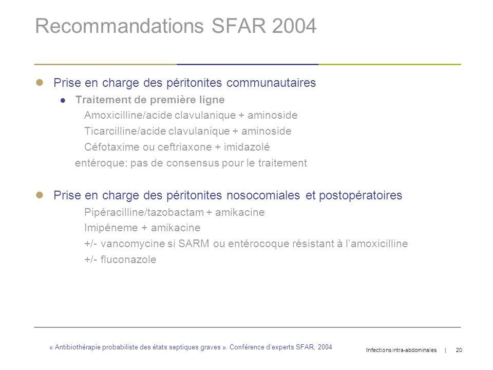 Recommandations SFAR 2004Prise en charge des péritonites communautaires. Traitement de première ligne.