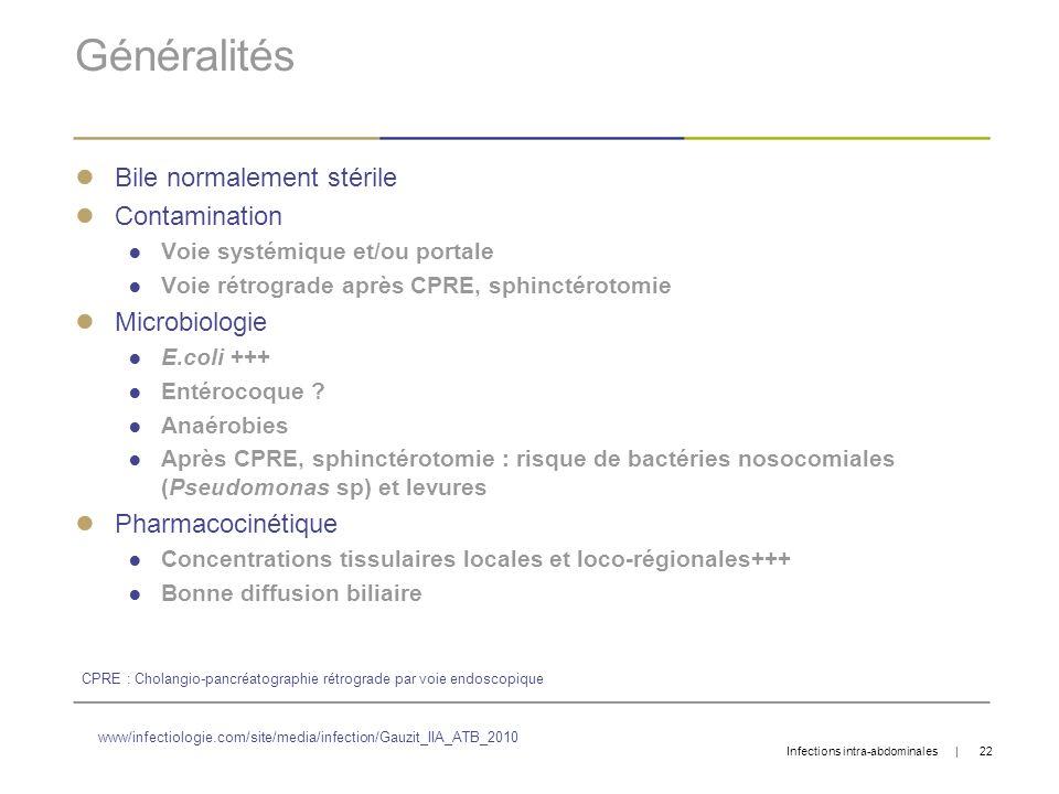 Généralités Bile normalement stérile Contamination Microbiologie