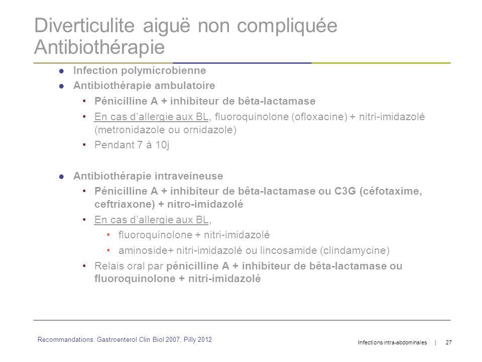 Diverticulite aiguë non compliquée Antibiothérapie