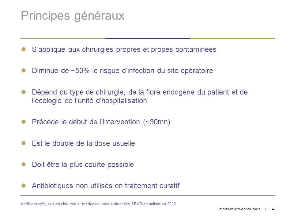 Principes généraux S'applique aux chirurgies propres et propes-contaminées. Diminue de ~50% le risque d'infection du site opératoire.