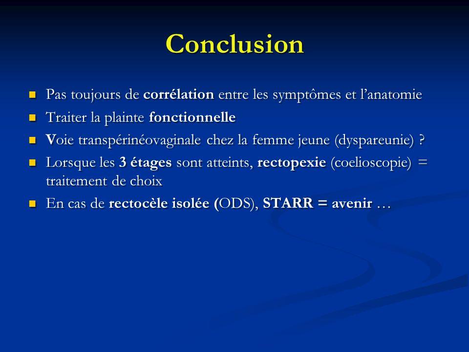 Conclusion Pas toujours de corrélation entre les symptômes et l'anatomie. Traiter la plainte fonctionnelle.