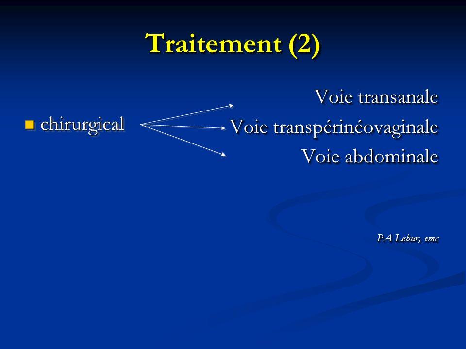 Traitement (2) Voie transanale Voie transpérinéovaginale