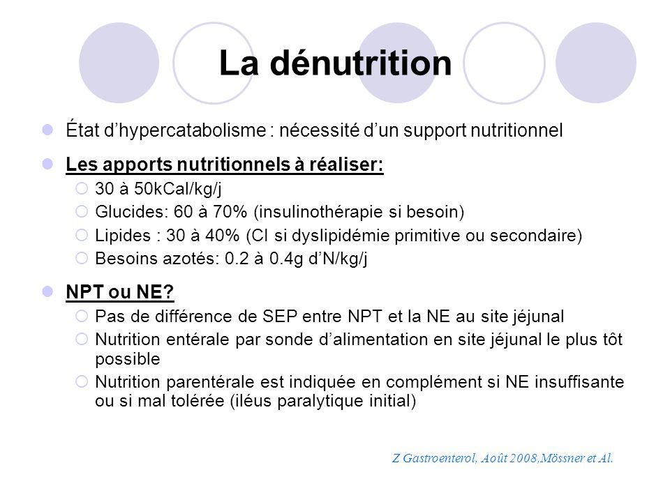 La dénutrition État d'hypercatabolisme : nécessité d'un support nutritionnel. Les apports nutritionnels à réaliser: