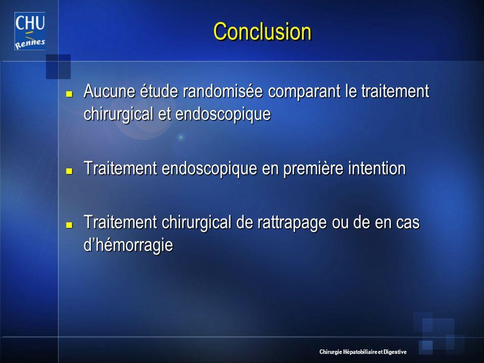 Conclusion Aucune étude randomisée comparant le traitement chirurgical et endoscopique. Traitement endoscopique en première intention.