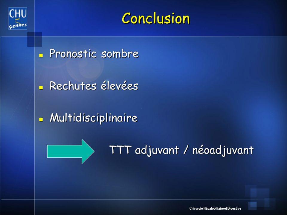 Conclusion Pronostic sombre Rechutes élevées Multidisciplinaire