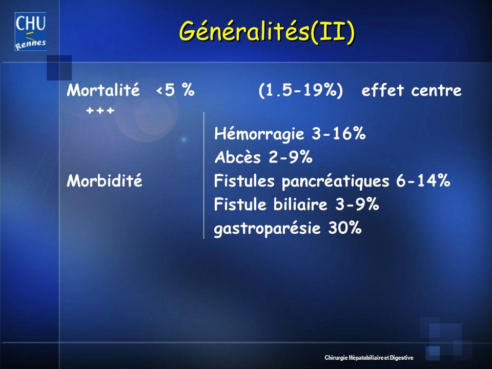 Généralités(II) Mortalité <5 % (1.5-19%) effet centre +++