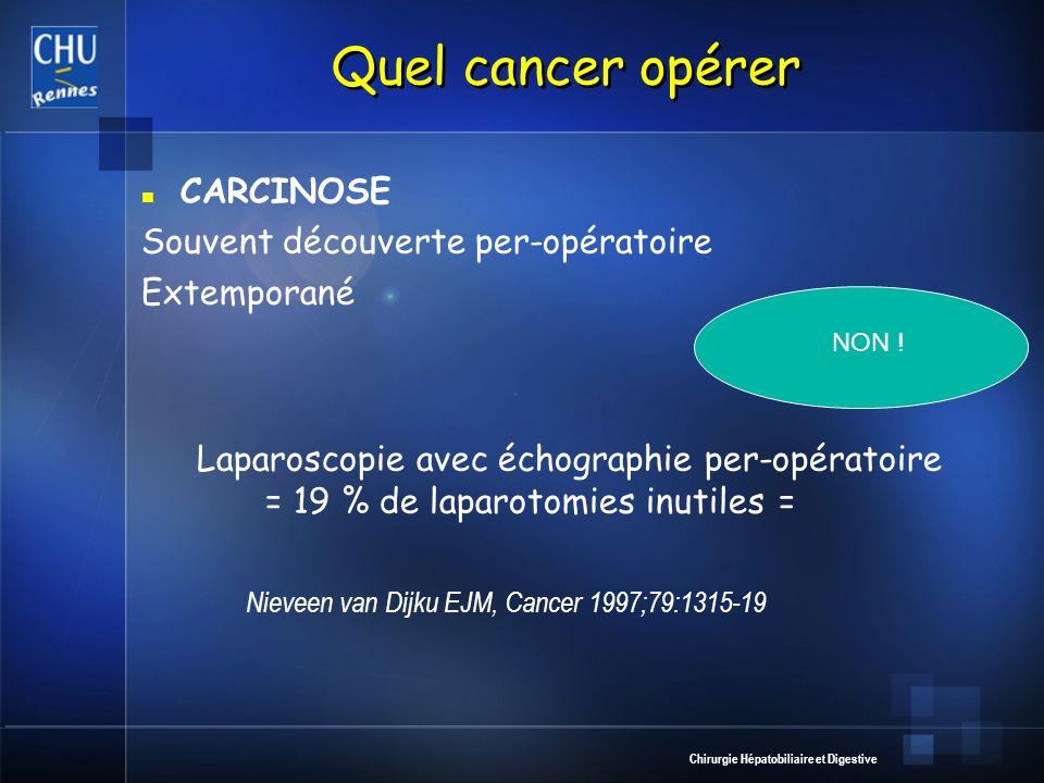 Quel cancer opérer CARCINOSE Souvent découverte per-opératoire