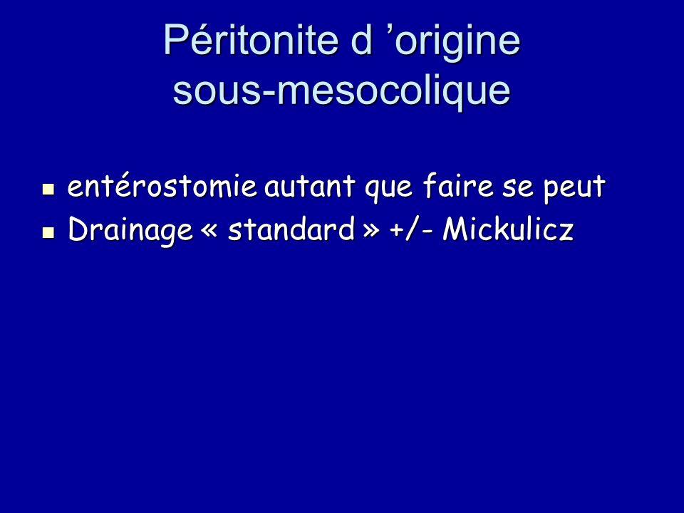 Péritonite d 'origine sous-mesocolique