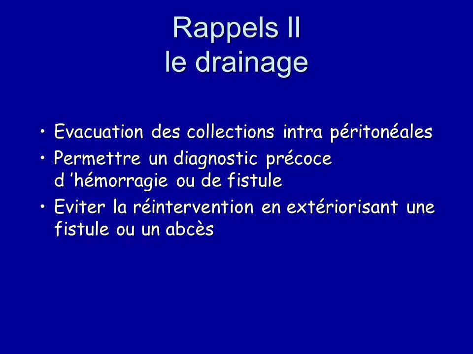 Rappels II le drainage Evacuation des collections intra péritonéales